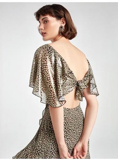 Nocturne V Yaka Parlak Desenli Elbise Renkli